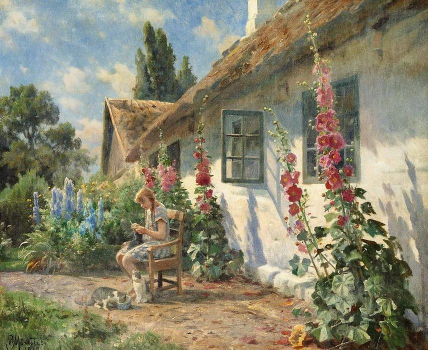 sommer tag im garten mit ein m dchen stricken l auf leinwand von peder mork monsted 1859 1941. Black Bedroom Furniture Sets. Home Design Ideas