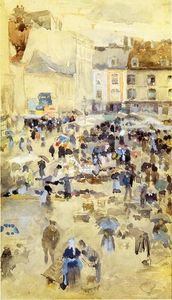 James Abbott Mcneill Whistler - Variationen in Violett und Grau - Market Place, Dieppe