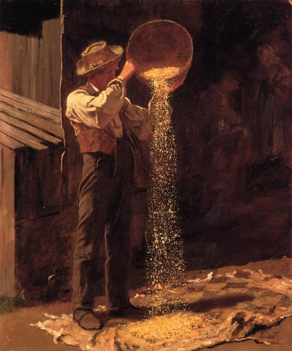 Winnowing Grain, 1877 von Jonathan Eastman Johnson (1824-1906, United Kingdom)