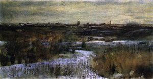 Dwight William Tryon - Winter ausgestellt zentral  Park entfernt