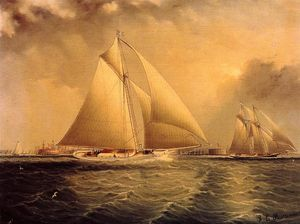 James Edward Buttersworth - Yachting in New York Harbor