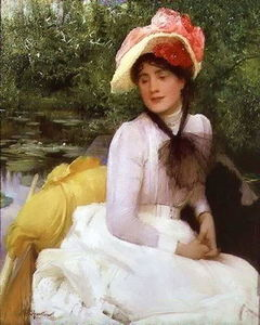 Arthur Hacker - Young girl a punt