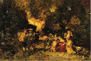 Adolphe Joseph Thomas Monticelli - garten party