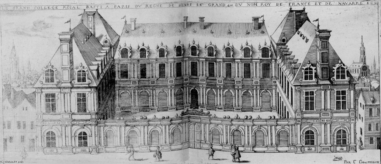 Le College-Royal, Futur Collège de France von Claude Chastillon (1559-1616, France)