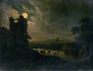 Abraham Pether - Moonlit Landschaft mit  fluss