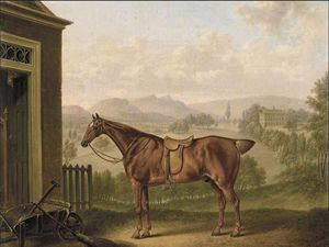 Charles Towne - A Saddled Chestnut Hunter in einer Landschaft