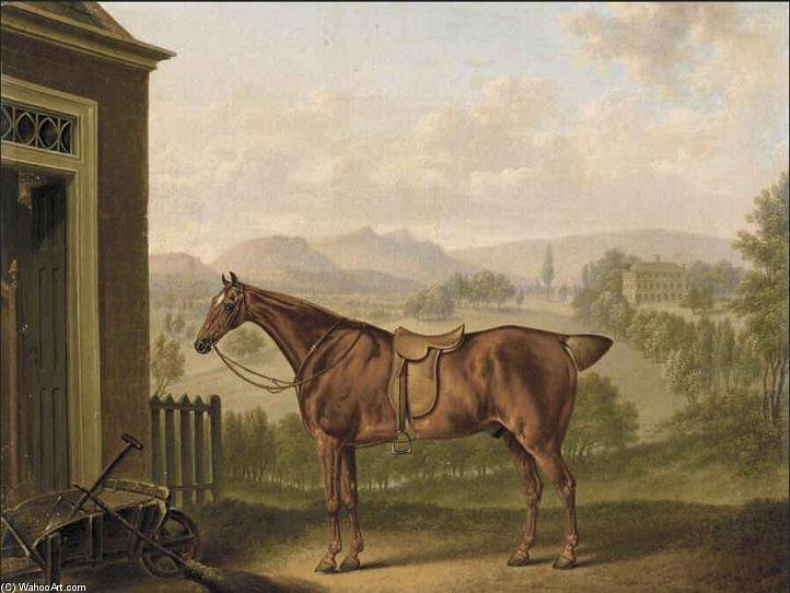 A Saddled Chestnut Hunter in einer Landschaft von Charles Towne (1763-1854, United Kingdom)