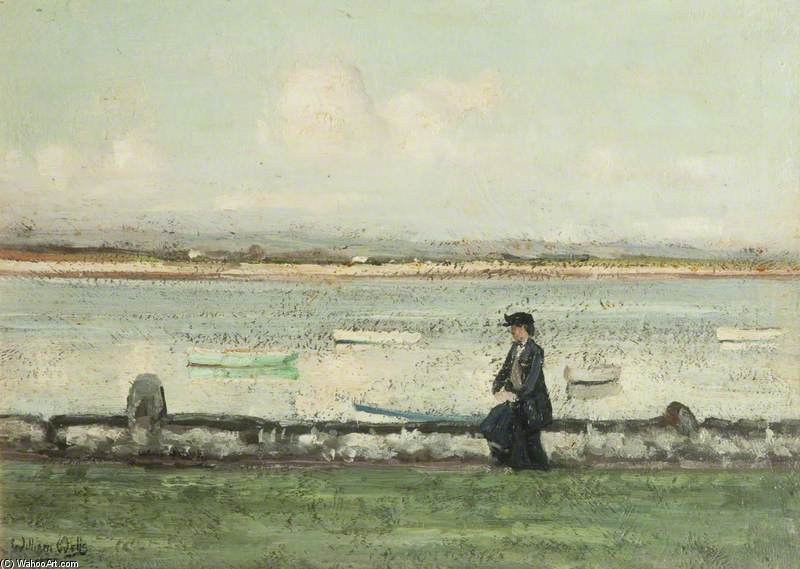 Die Lune Am Sunderland Point von William Page Atkinson Wells (1871-1923, United Kingdom)
