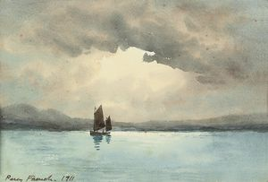 William Percy French - ein segel boot  auf  Ein  Binnensee