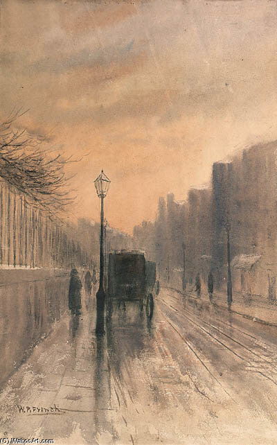 Nassau Straße , Dublin von William Percy French (1854-1920, Ireland)
