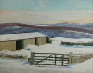 William Rothenstein - Iles- Bauernhof , Im winter