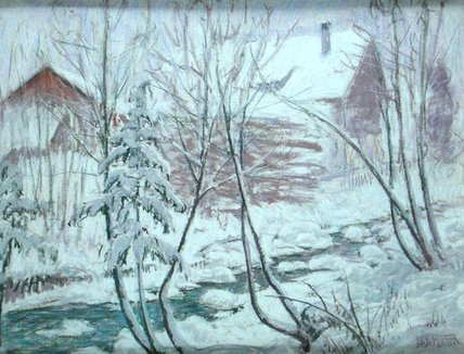 Chalets in der schnee von William Samuel Horton (1865-1936, United States)