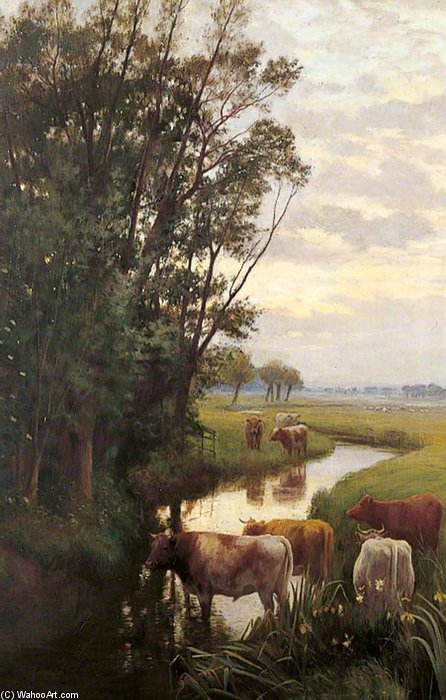 abendstimmung am Sturry von William Sidney Cooper (1854-1927)