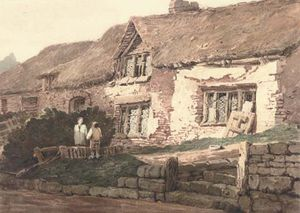 Samuel Prout - old cottages , Devonshire