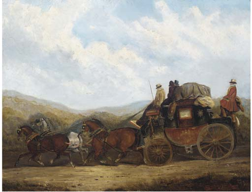 Die London um Dorking Coach; Und The London, Gloucester, Hereford und Aberystwyth Coach von Charles Cooper Henderson (1803-1877, United Kingdom)