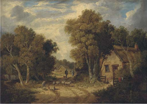 A Suffolk Lane von John Berney Ladbrooke (1803-1879, United Kingdom)
