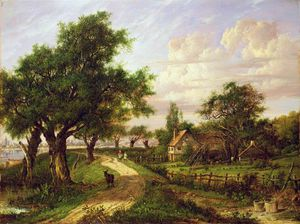 Patrick Nasmyth - a `farmstead` durch ein fluss
