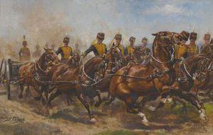 Harry Payne - Eine Batterie der Royal Horse Artillery Galloping, um eine frische Position