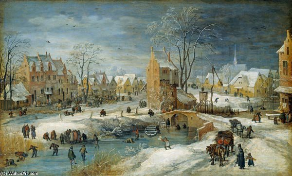 dorf im winter von Joos De Momper The Younger (1564-1635)