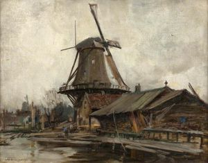 William Stewart Macgeorge - Rotterdam mit windmühle