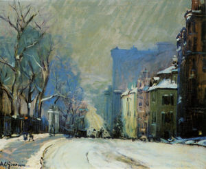 Arthur Clifton Goodwin - Funkfeuer straße  an  im Winter