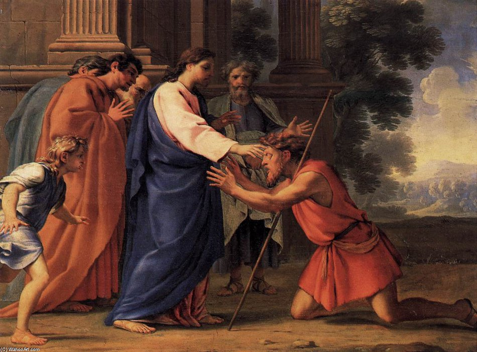 christus `healing` der blind mann von Brother Lesueur (Eustache Le Sueur) (1616-1655, France)