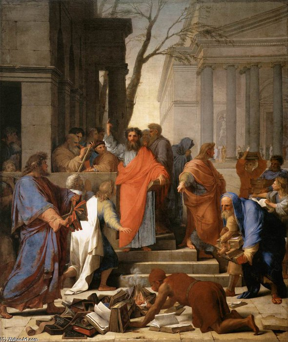 das predigen von st Paul in ephesus von Brother Lesueur (Eustache Le Sueur) (1616-1655, France)