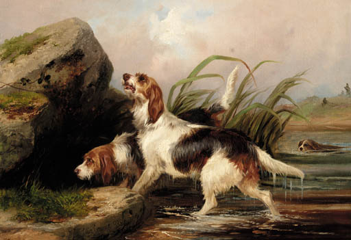 otter hounds on the scent von Colin Graeme Roe (1858-1910, United Kingdom)