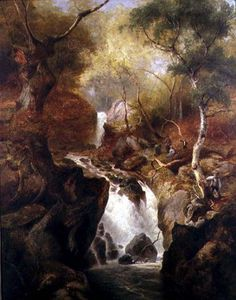 Edward Henry Holder - wasserfall durch  Ein  waldland