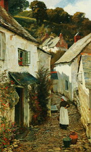 Edward Wilkins Waite - eine straße in clovelly