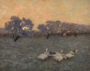 Edward William Stott - Sonnenaufgang an  im Winter