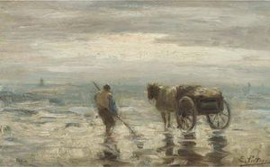 Evert Pieters - Ein Shell-fisher direkt am strand