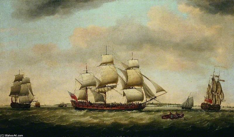 General Coote Die Ostindienfahrer in drei Positionen Off The Downs von Francis Holman (1729-1784, United Kingdom)