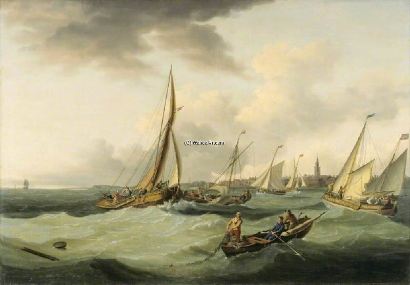 angeln boote in ein brise aus great yarmouth von John Thomas Serres (1759-1825, United Kingdom)