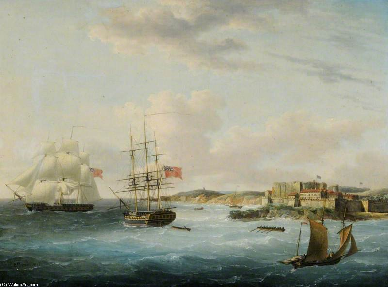 Naval Versand Off Castle Cornet von John Thomas Serres (1759-1825, United Kingdom)