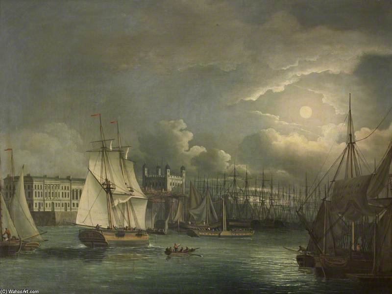 der pool von london durch  nacht  von John Thomas Serres (1759-1825, United Kingdom)