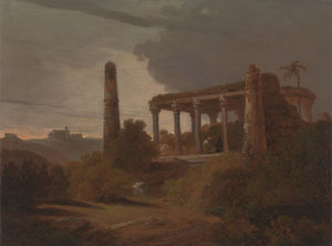 Thomas And William Daniell - indisch landschaft mit  Tempel  Gemäuer