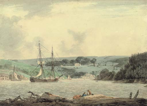 belle vue von dem passage in cap unten , Fluss Tamar , Cornwall von William Payne (1760-1830, United Kingdom)