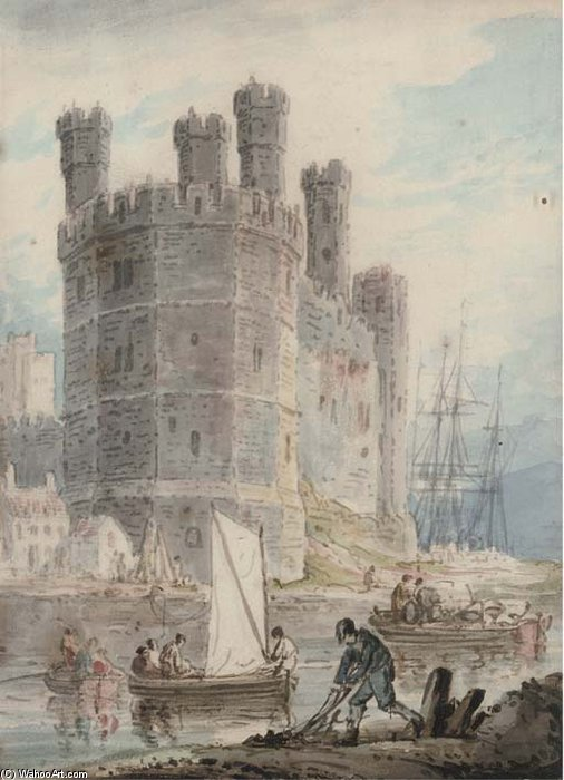 Caernarvon Burg , Striemen von William Payne (1760-1830, United Kingdom)