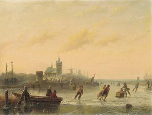 Andreas Schelfhout - winter `skaters` auf dem see