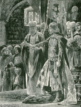 Die Investitur William II mit dem Ring von Richard Caton De Woodville (1856-1927, United States) | WahooArt.com