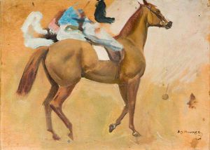 Alfred James Munnings - Ein Kastanie mit jockey-up