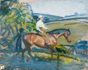 Alfred James Munnings - A Lady Riding A Bay Hunter
