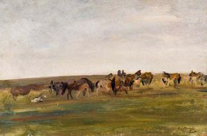 Alfred James Munnings - Exmoor Ponys -