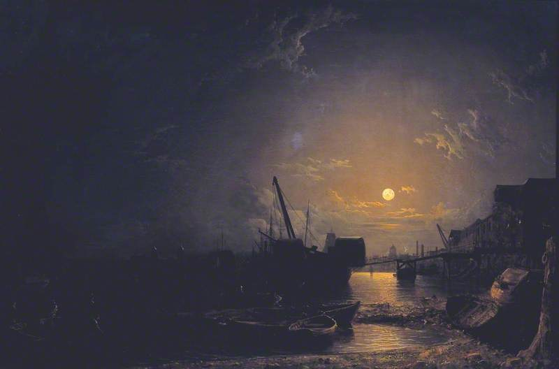 Greenwich Reach, Moonlight von Henry Pether (1828-1865, United Kingdom)