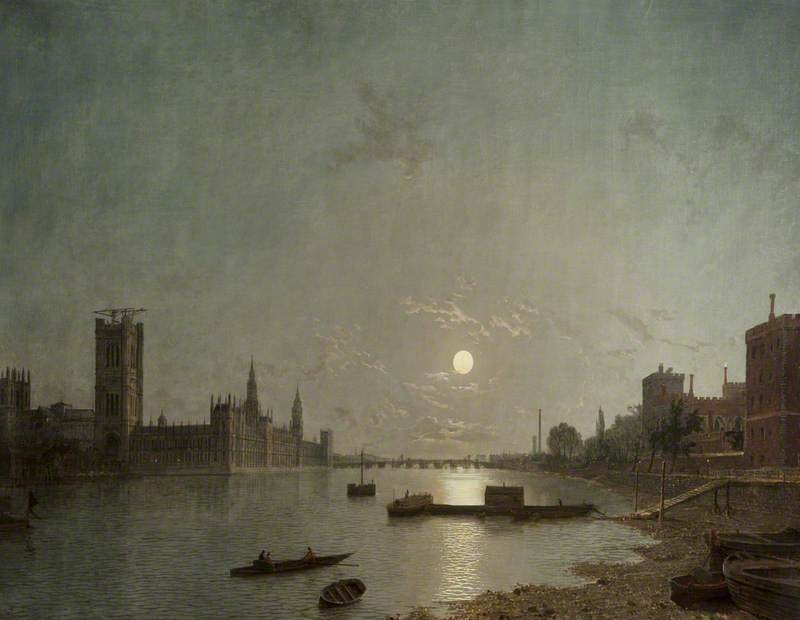Westminster in der Mondlicht von Henry Pether (1828-1865, United Kingdom)