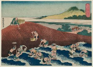 Katsushika Hokusai - Basket-fishing in der Kinu Fluss
