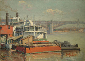 Richard Hayley Lever - Paddle Steamer Mark Twain, Mississippi River Eads Brücke bei St. Louis