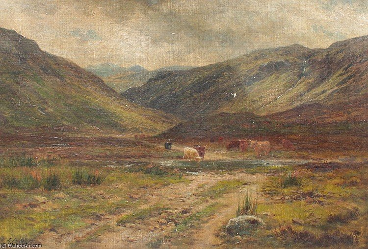 Glen Logan Kinlochewe von Louis Bosworth Hurt (1856-1929, United Kingdom)