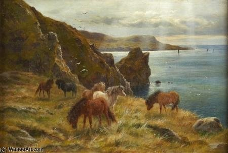Shetland Ponys auf Bressay Ton von Louis Bosworth Hurt (1856-1929, United Kingdom)